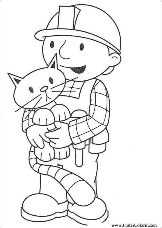 Dibujos para pintar y Color Bob The Builder - Diseño de impresión 007