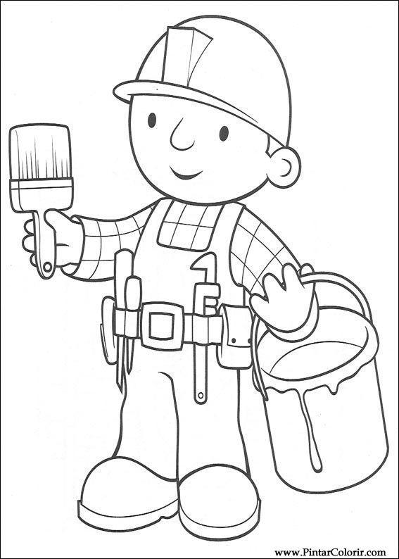 Dibujos para pintar y Color Bob The Builder - Diseño de impresión 050