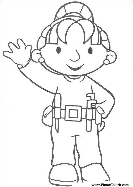 Dibujos para pintar y Color Bob The Builder - Diseño de impresión 059