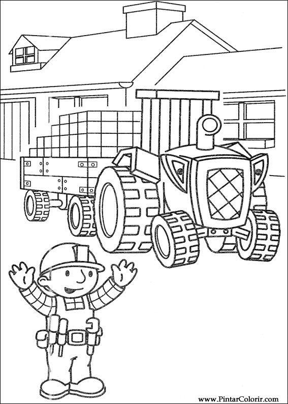 Dibujos para pintar y Color Bob The Builder - Diseño de impresión 099