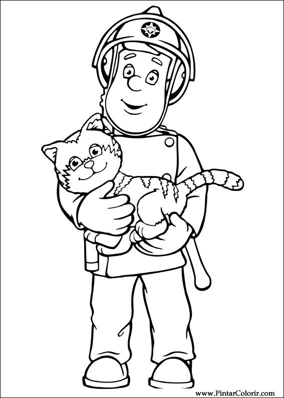 Drawings To Paint Colour Fireman Sam Print Design 001