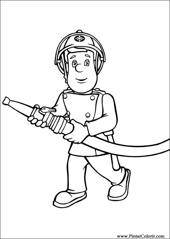Drawings To Paint Colour Fireman Sam Print Design 004