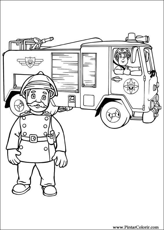 Dibujos para pintar y Color Fireman Sam - Diseño de impresión 009