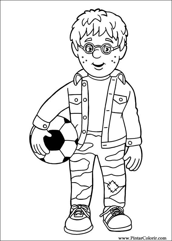 Drawings To Paint Colour Fireman Sam Print Design 011