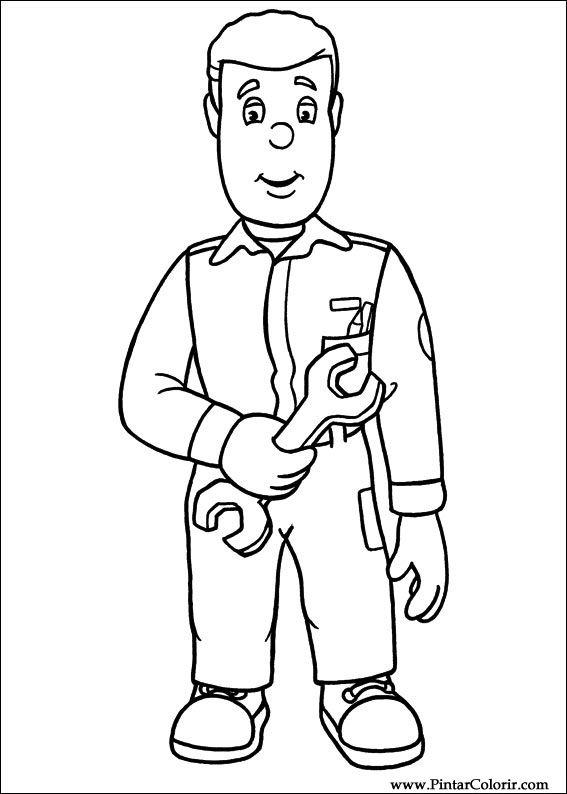 Dibujos para pintar y Color Fireman Sam - Diseño de impresión 018
