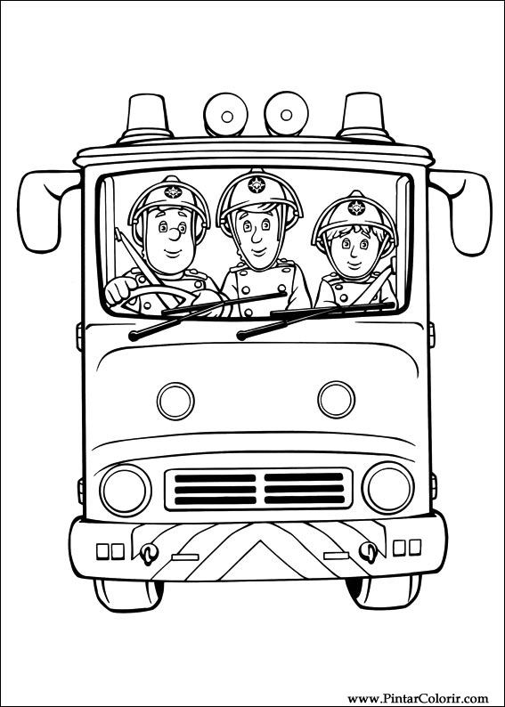 Drawings To Paint Colour Fireman Sam Print Design 024