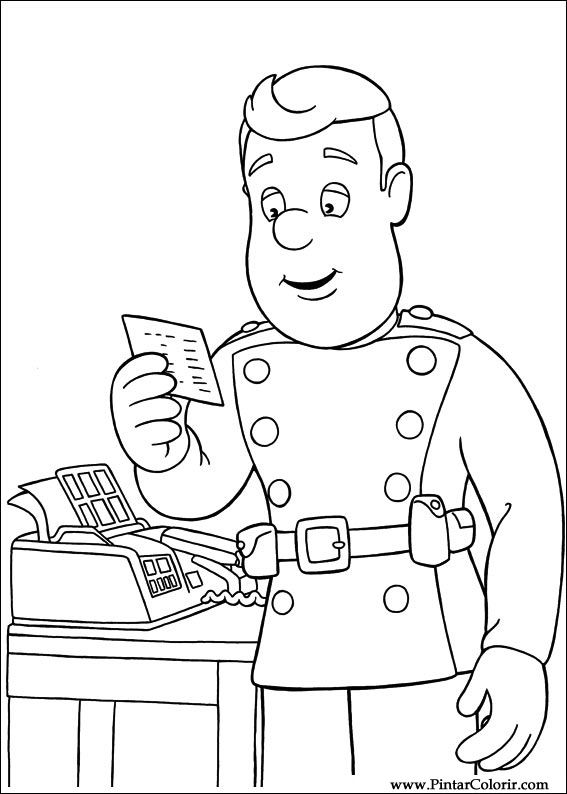 Drawings To Paint Colour Fireman Sam Print Design 026