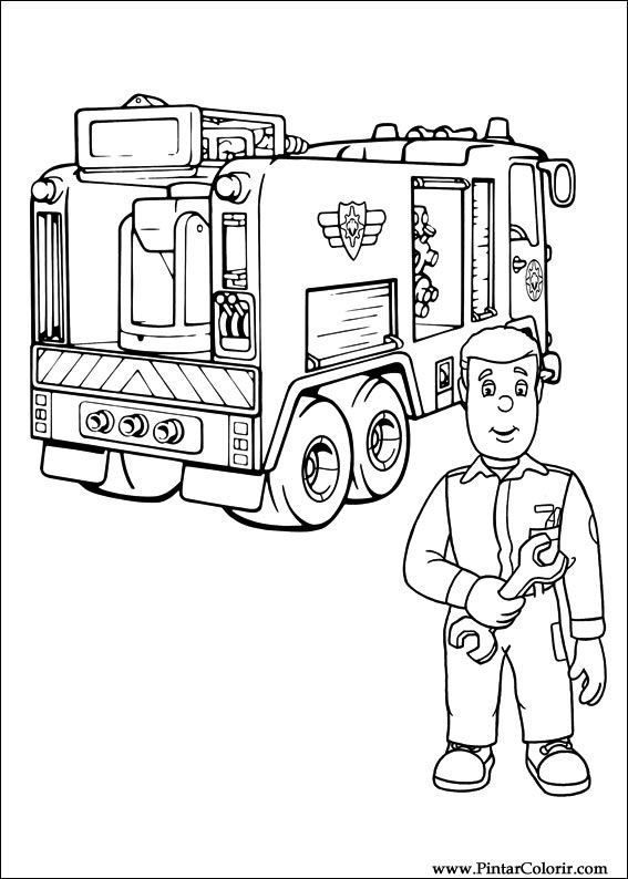 Dibujos para pintar y Color Fireman Sam - Diseño de impresión 027