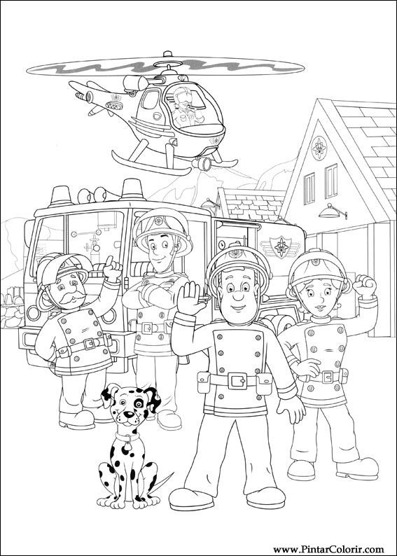 Drawings To Paint Colour Fireman Sam Print Design 031