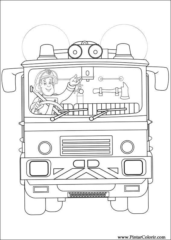 çizimler Boya Ve Renk Itfaiyeci Sam Için Baskı Tasarım 032