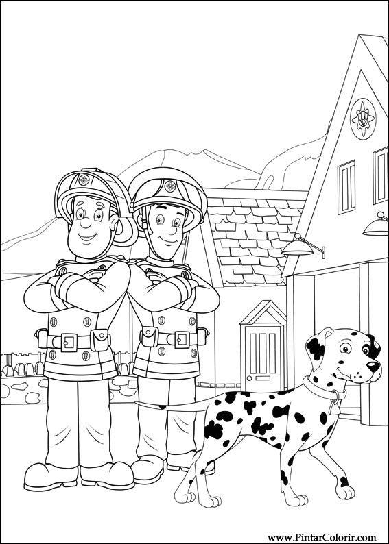 Dibujos para pintar y Color Fireman Sam - Diseño de impresión 039