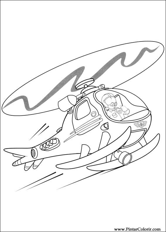 Dibujos para pintar y Color Fireman Sam - Diseño de impresión 040