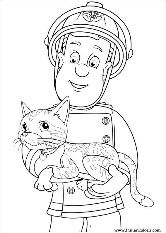 Tekeningen Te Schilderen Kleur Brandweerman Sam Print Design 041