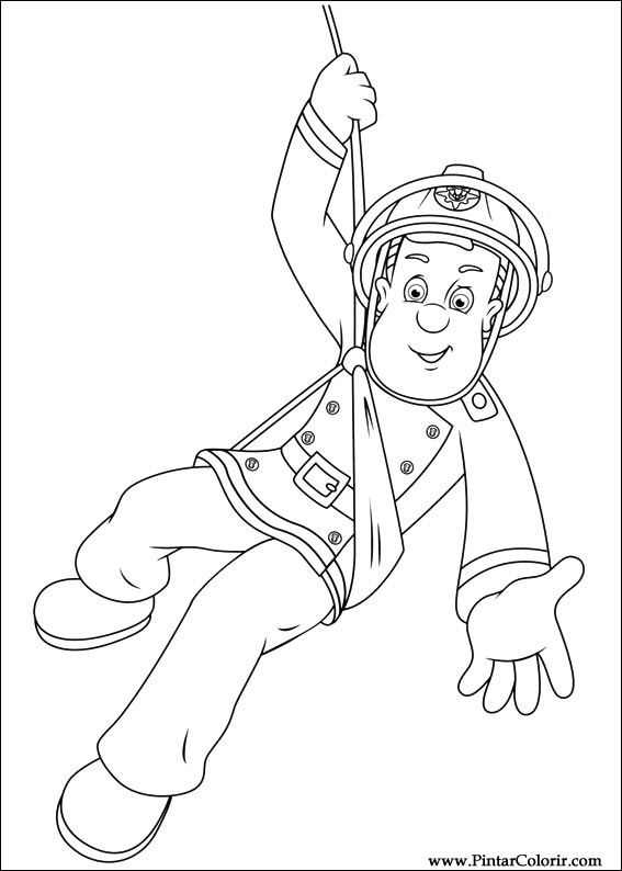 Drawings To Paint Colour Fireman Sam Print Design 042