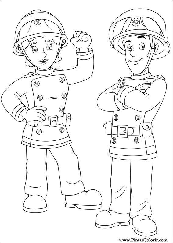 çizimler Boya Ve Renk Itfaiyeci Sam Için Baskı Tasarım 056