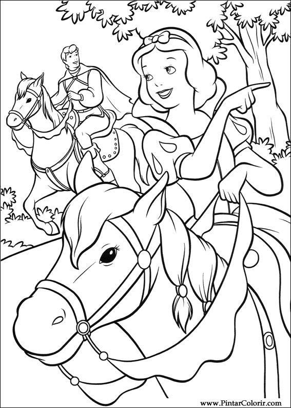 çizimler Boya Ve Renk Snow White Için Baskı Tasarım 005