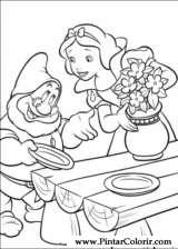 Pintar e Colorir Branca De Neve - Desenho 004