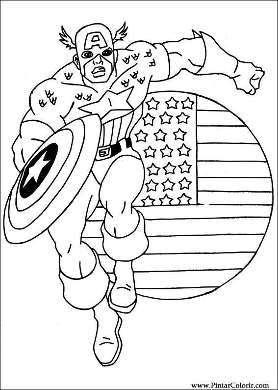 Desenhos Para Pintar E Colorir Capitao America Imprimir Desenho 002