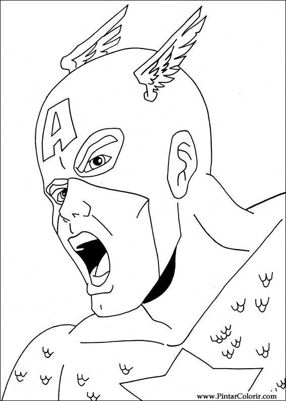 Dibujos para pintar y Color Captain America - Diseño de impresión 006