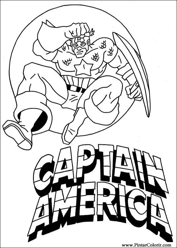Dibujos para pintar y Color Captain America - Diseño de impresión 011
