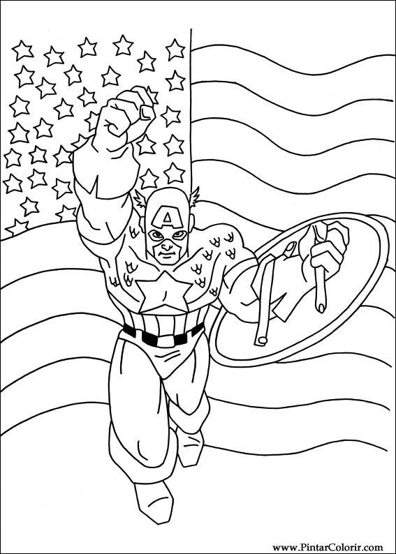 çizimler Boya Ve Renk Kaptan Amerika Için Baskı Tasarım 014