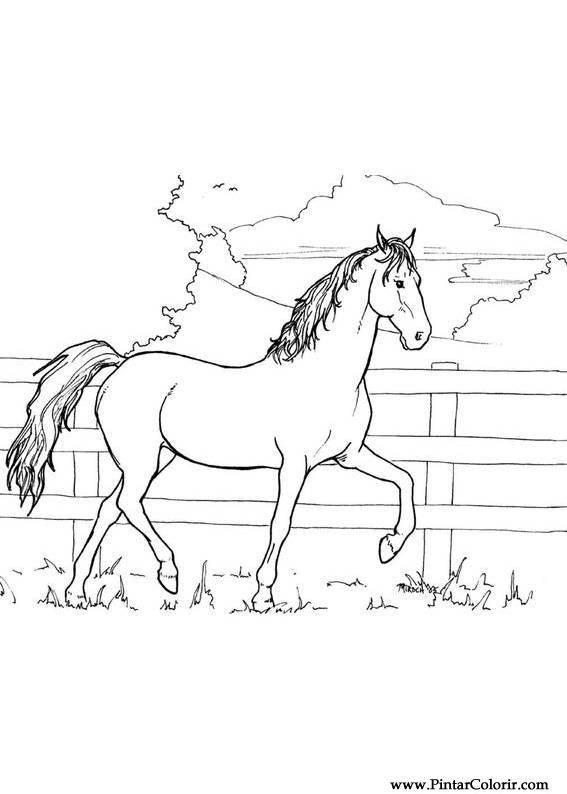 desenhos para pintar e colorir cavalos imprimir desenho 002