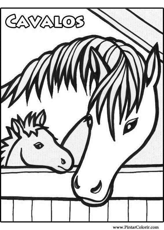 desenhos para pintar e colorir cavalos imprimir desenho 007