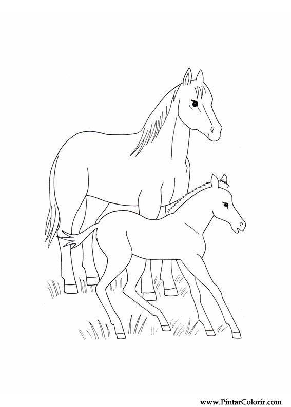 desenhos para pintar e colorir cavalos imprimir desenho 016