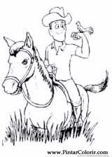 Pintar e Colorir Cavalos - Desenho 004