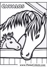 Pintar e Colorir Cavalos - Desenho 007