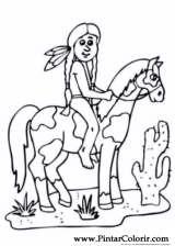 Pintar e Colorir Cavalos - Desenho 015