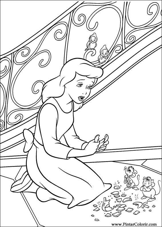 Dibujos Para Pintar Y Color Cenicienta Diseño De Impresión 011