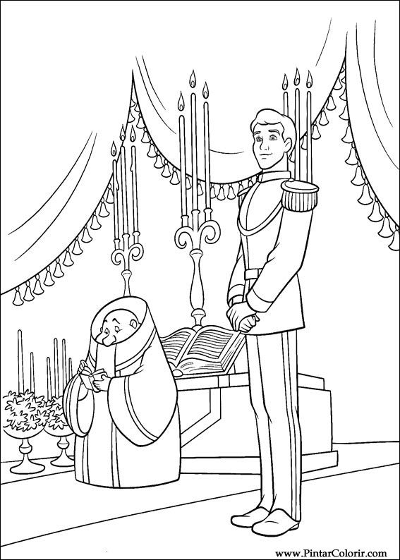 Drawings To Paint Colour Cinderella Print Design 059