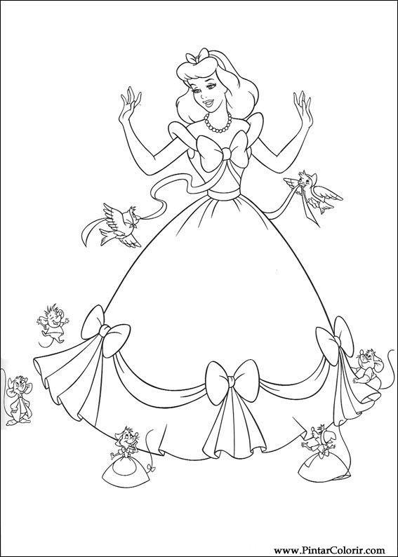 çizimler Boya Ve Renk Sindirella Için Baskı Tasarım 076
