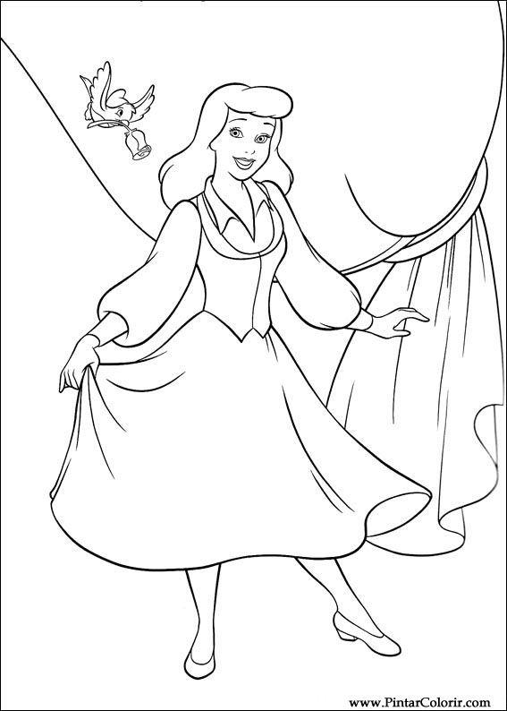 Desenhos Para Pintar E Colorir Cinderela Imprimir Desenho 087