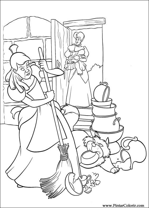 Drawings To Paint Colour Cinderella Print Design 094
