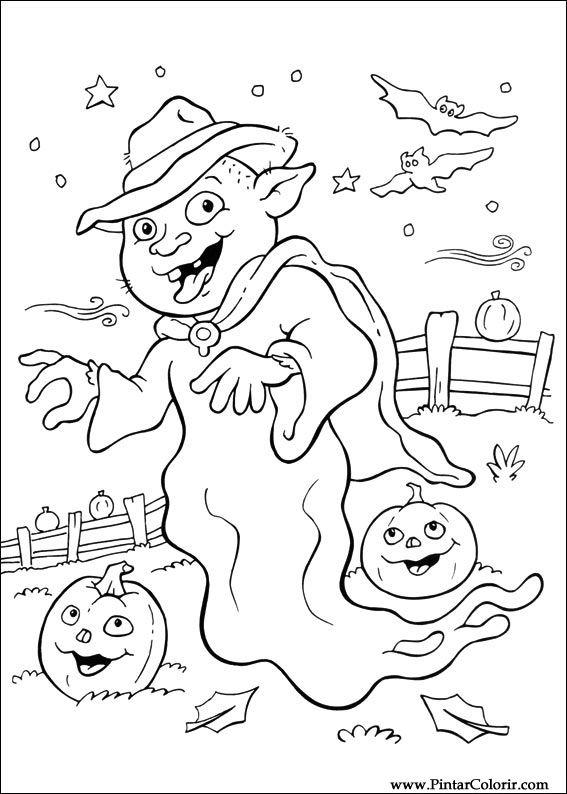 Pintar e Colorir Dia Das Bruxas - Desenho 070