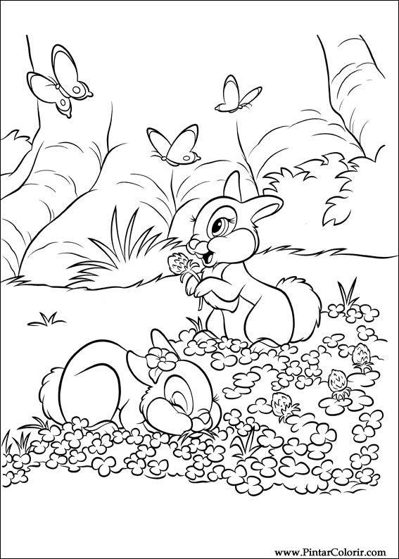 Dibujos para pintar y Color Disney Conejitos - Diseño de impresión 017