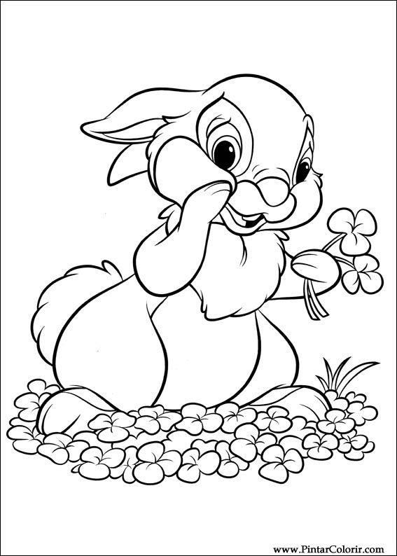 çizimler Boya Ve Renk Disney Tavşan Için Baskı Tasarım 018