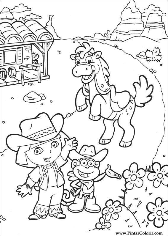 Gratis Kleurplaten Dora Printen.Tekeningen Te Schilderen Kleur Dora The Explorer Print Design 006