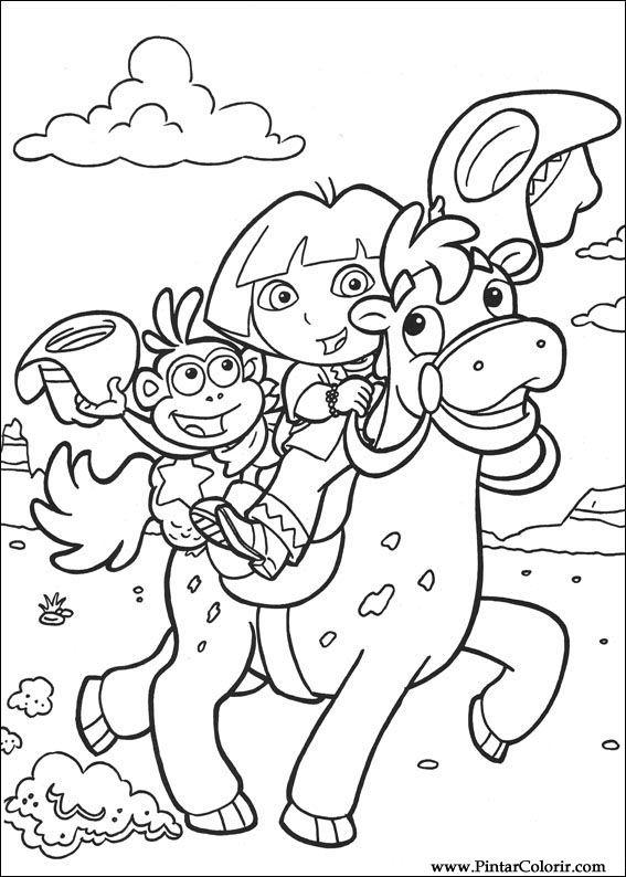 Dibujos para pintar y Color Dora la Exploradora - Diseño de ...
