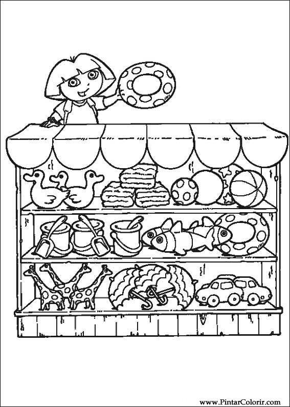 Drawings To Paint Colour Dora The Explorer Print Design 046
