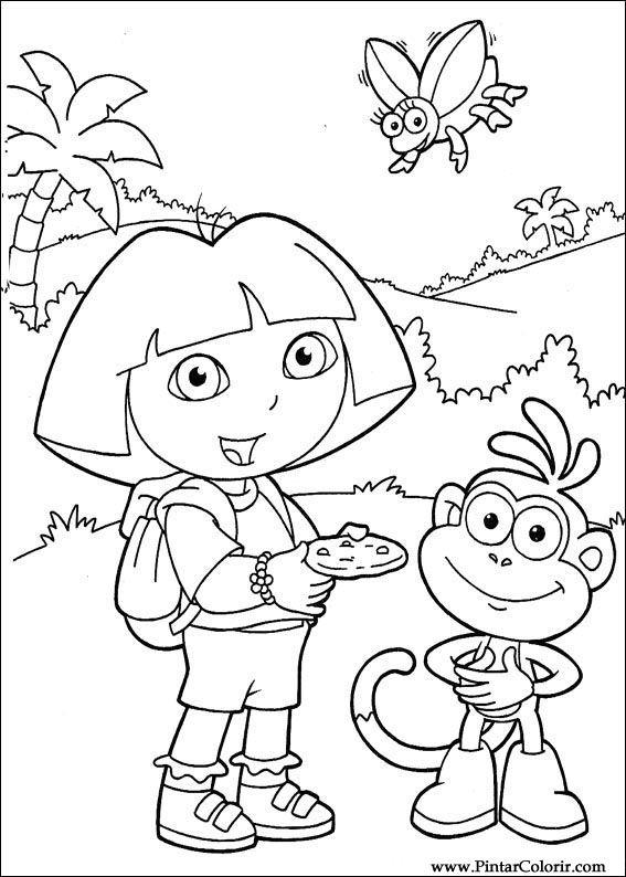 Drawings To Paint & Colour Dora The Explorer - Print Design 099