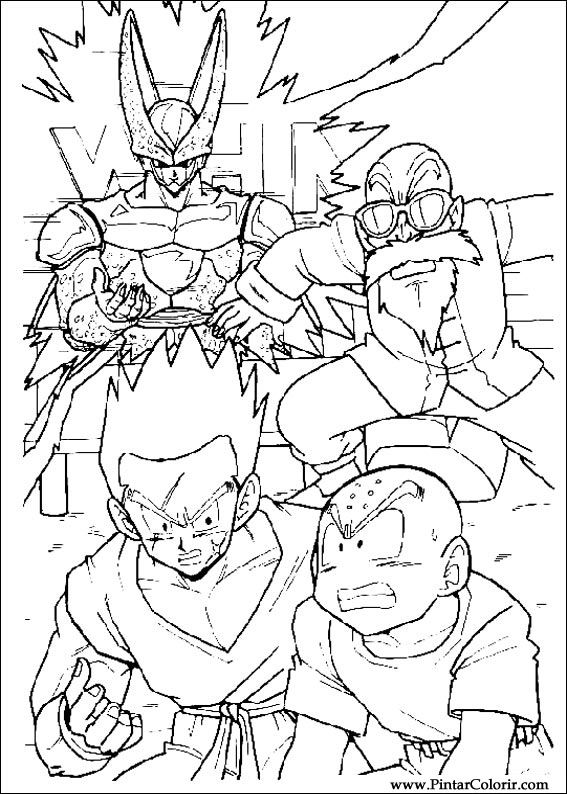 drawings to paint colour dragon ball z print design 003