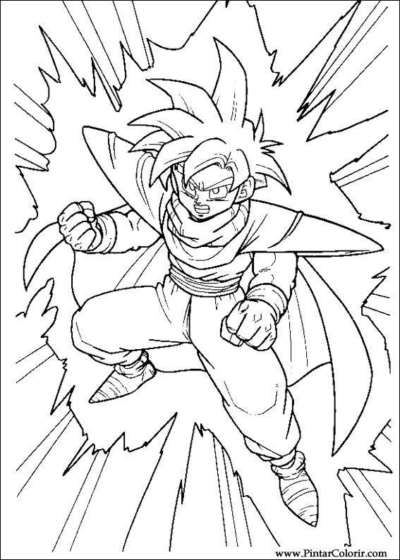 Dibujos para pintar y Color Dragon Ball Z - Diseño de impresión 006