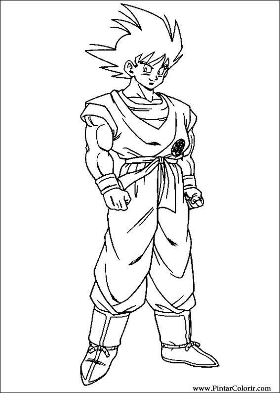 Drawings To Paint & Colour Dragon Ball Z - Print Design 016