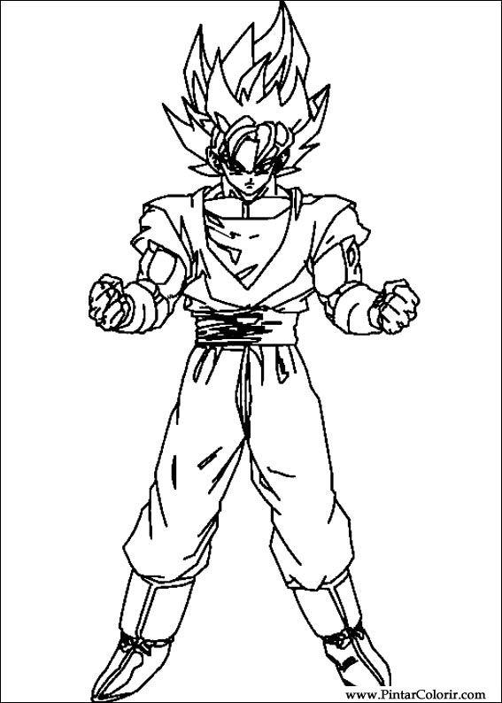 Dibujos Para Pintar Y Color Dragon Ball Z Diseño De