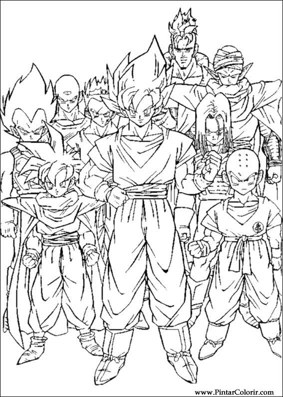 drawings to paint colour dragon ball z print design 060