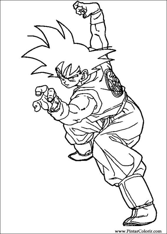 Drawings To Paint & Colour Dragon Ball Z - Print Design 065