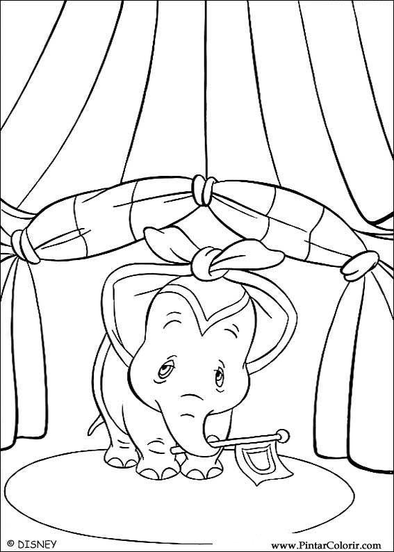 Dibujos para pintar y Color Dumbo - Diseño de impresión 016